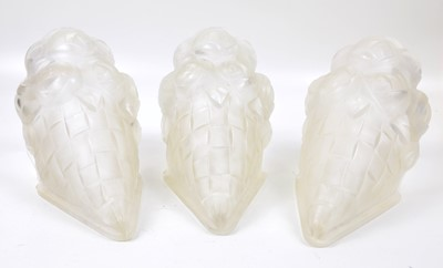 Lot 145 - Three Frosted Glass Degue Wall Sconces