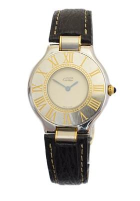 Lot 129 - A Must De Cartier 21 stainless steel quartz wristwatch