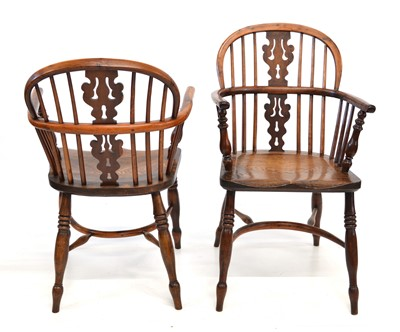 Lot 376 - Four mid 19th Century yew and elm low back Windsor chairs