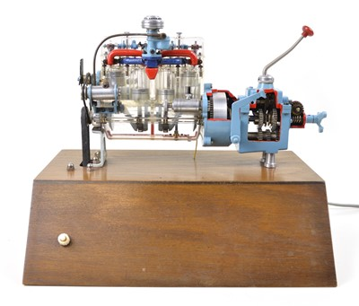 Lot 127 - Four Cylinder Cutaway Engine with Gearbox