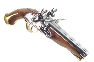 Lot Inert reproduction flintlock double barrel pistol