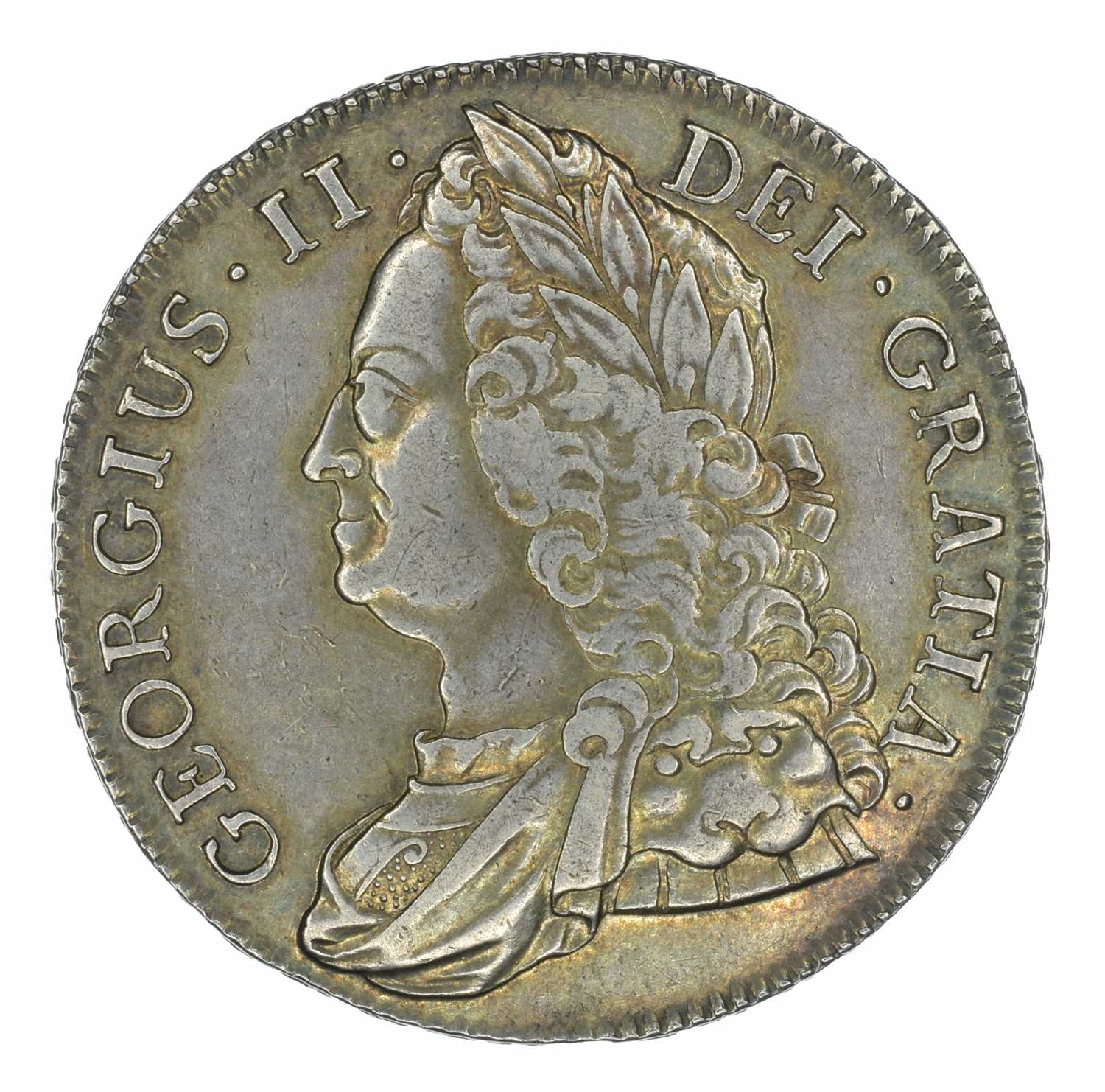 Lot 40 - King George II, Crown, 1743 D. SEPTIMO.