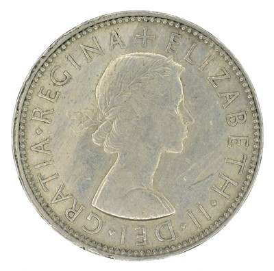 Lot 90 - Mis-Strike Florin, Elizabeth II, Obverse Brockage, VF.