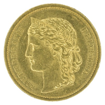 Lot 96 - Switzerland, 20 Francs, gold, EF.