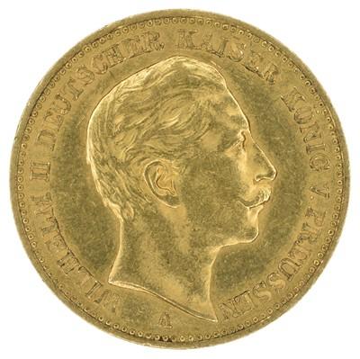 Lot 72 - German States, Prussia, Wilhelm II (1888-1918), 20 (Twenty) Mark, 1894, mm. A, gold, weight 8g, EF.
