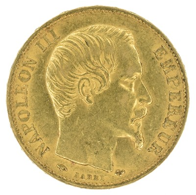 Lot 95 - France, President Napoleon III, 20 Francs, 1859, gold, weight 6.5g, VF.