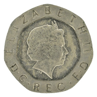 Lot 91 - Elizabeth II 20p piece, 2008 undated error coin.