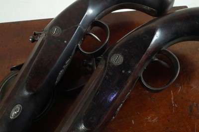 Lot Matched pair of Flintlock dueling pistols by Wogdon and Barton London.