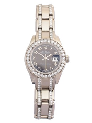 Lot A ladies 18ct gold and diamond Rolex Oyster Perpetual Datejust Pearlmaster wristwatch