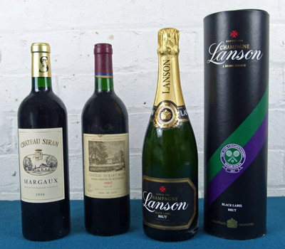 Lot 1 - 3 Bottles Mixed Lot of Fine mature Classified and Bourgeois Claret together with Lanson Champagne