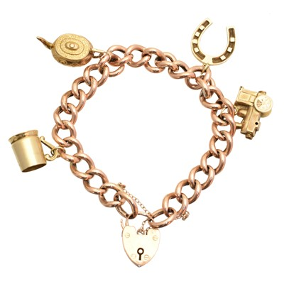 Lot 5 - A 9ct gold charm bracelet