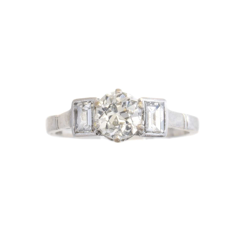 Lot A diamond single stone ring