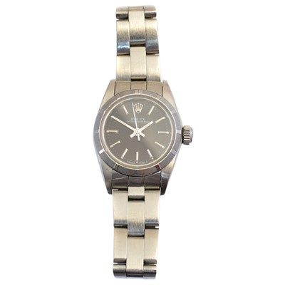 Lot 140 - A ladies steel Rolex Oyster Perpetual wristwatch