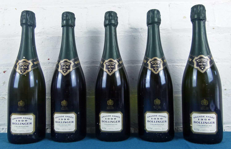 Lot 14 - 5 bottles Champagne Bollinger 'Grande Annee' 1990
