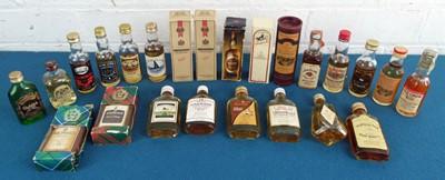 Lot 55 - 24 Miniature  Bottles Fine Scotch Whisky and Boubon
