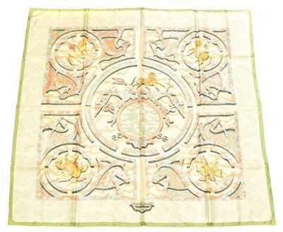 """Lot 42 - A Hermès """"Alfred DeDreux Peintre du Cheval"""" silk scarf by Zoe Pauwels"""