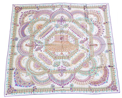 "Lot 98 - A Hermès ""Parures Des Maharajas"" silk scarf by Catherine Baschet"