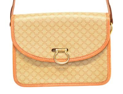Lot 49 - A Celine Vintage Macadam Shoulder Flap Bag