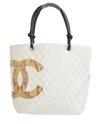 Lot 56 - A Chanel Snake Skin Logo Cambon Tote Bag