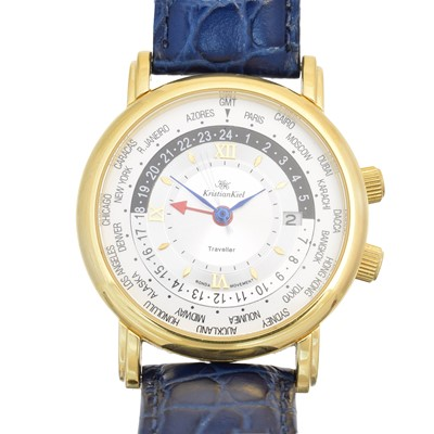 Lot 134 - A stainless steel and gold plated Kristian Kiel Traveller watch