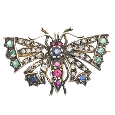 Lot 21 - A diamond and gem-set butterfly brooch