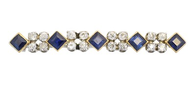 Lot 31 - A sapphire and diamond bar brooch