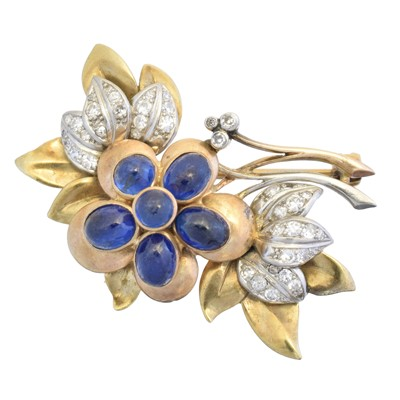 Lot 28 - A mid 20th century sapphire and diamond brooch