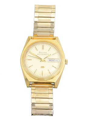 Lot 52 - A gold plated and stainless steel Bulova Accuquartz watch