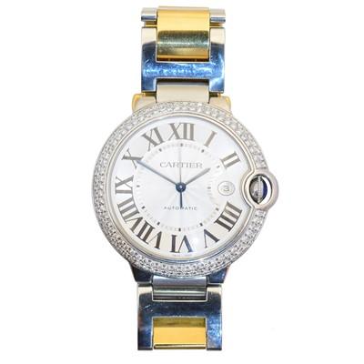 Lot 130 - A bicolour Cartier Ballon Bleu watch