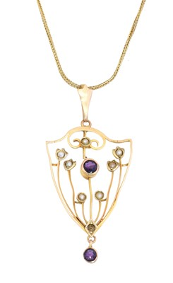 Lot 34 - An early 20th century amethyst and seed pearl pendant