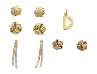 Lot 21 - Four pairs of 9ct gold earrings and a D charm