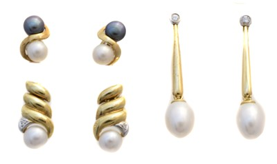 Lot 50 - Three pairs of 9ct gold cultured pearl earrings