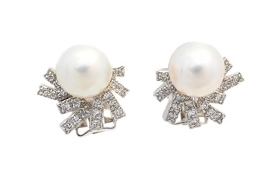 Lot 43 - A pair of cultured pearl and diamond earrings