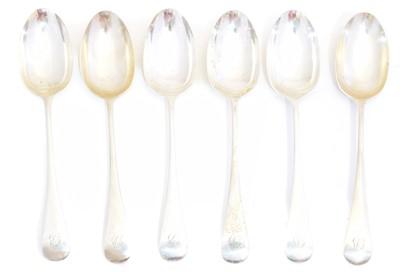 Lot 103 - Six George V silver dessert spoons