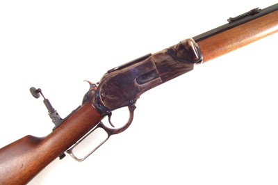 Lot Chaparral 1876 Winchester 50-95 rifle with loading accessories