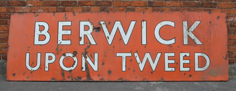 Lot Large 'Berwick Upon Tweed' Enamel Sign
