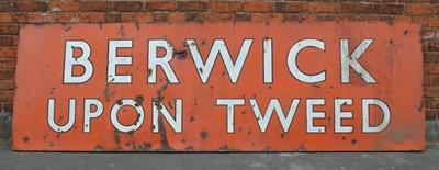 Lot 15 - Large 'Berwick Upon Tweed' Enamel Sign