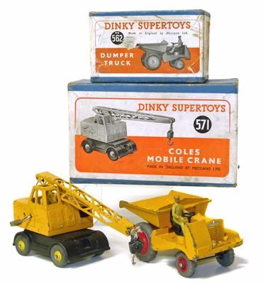 Lot Dinky Supertoys Coles mobile crane No. 571, and dumper truck No. 562 with original boxes.