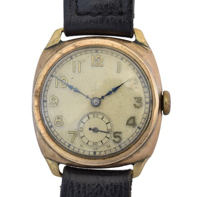 Lot 50 - A 9ct gold cased Visible wristwatch