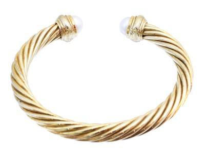 Lot A cultured pearl torque bangle by David Yurman