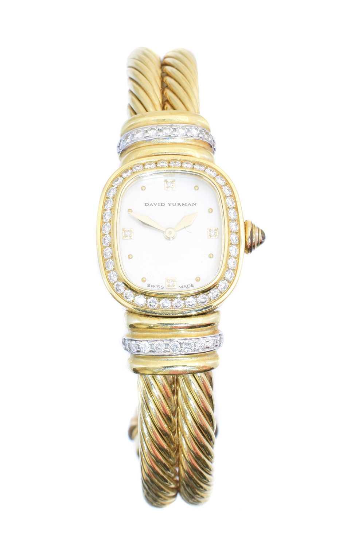 Lot A David Yurman 18ct gold diamond bangle watch