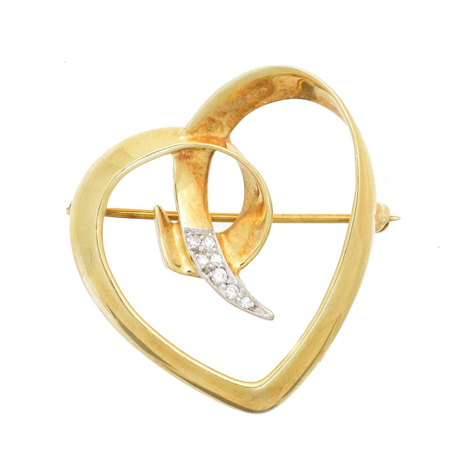 Lot 1 - A 1980s 18ct gold and diamond heart brooch by Paloma Picasso for Tiffany & Co.