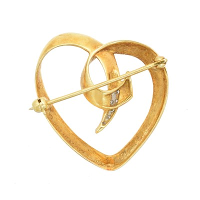 Lot 8 - A 1980s 18ct gold and diamond heart brooch by Paloma Picasso for Tiffany & Co.