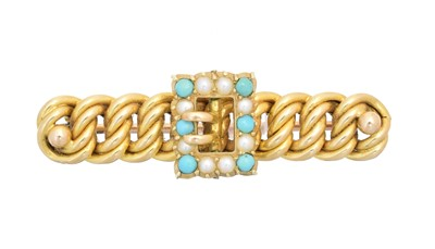 Lot 6 - An early 20th century turquoise and split pearl bar brooch