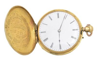 Lot A late 19th century 18ct gold enamel hunter pocket watch