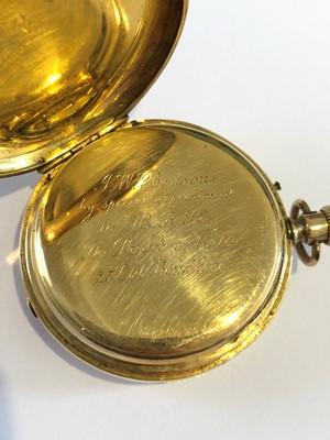 Lot 152 - A late 19th century 18ct gold enamel hunter pocket watch