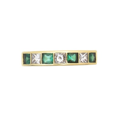 Lot An 18ct gold diamond and emerald band ring