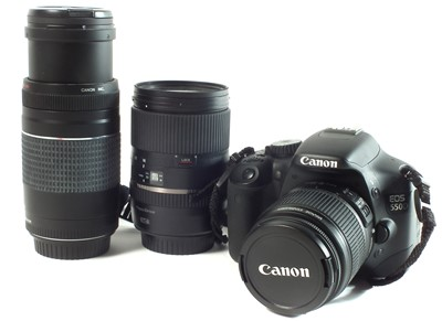 Lot Canon EOS 550D camera and lenses