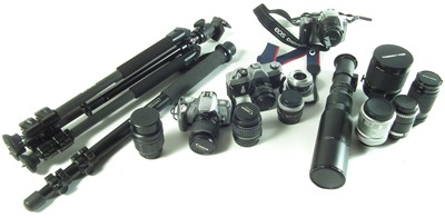 Lot Three Canon Cameras and a large collection of photography equipment