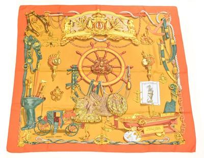 "Lot 158 - A Hermès ""Musée"" silk scarf by Philippe Ledoux"